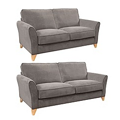 Debenhams - Set of large and medium velour 'Fyfield Grace' sofas