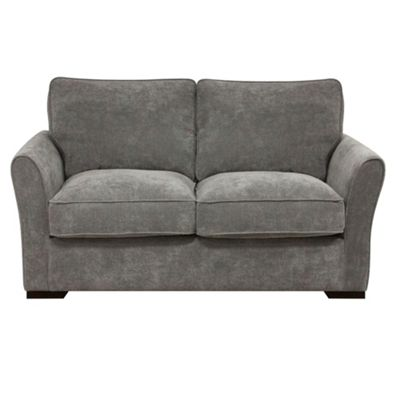 Pewter Fyfield sofa bed with dark wood feet