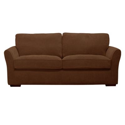 Chocolate Fyfield sofa bed with dark wood feet