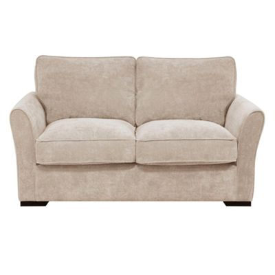 Linen Fyfield sofa bed with dark wood feet
