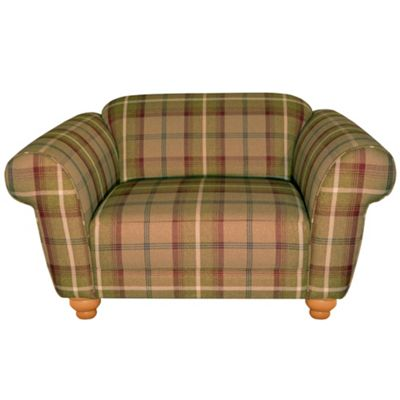 Mulberry plaid Carnegie Deluxe snuggler chair with light wood feet