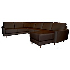 RJR.John Rocha - Leather 'Eclipse' right-hand facing corner sofa with chaise