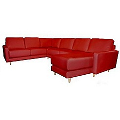 RJR.John Rocha - Leather red 'Eclipse' right-hand facing corner sofa with chaise