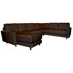 RJR.John Rocha - Leather 'Eclipse' left-hand facing corner sofa with chaise
