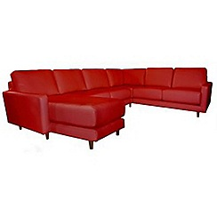 RJR.John Rocha - Leather red 'Eclipse' left-hand facing corner sofa with chaise