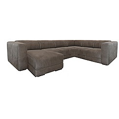 RJR.John Rocha - Suede effect 'Elements' left-hand facing corner sofa with chaise