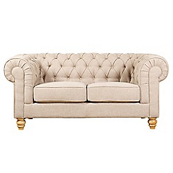 Debenhams - Small linen effect 'Chesterfield' sofa