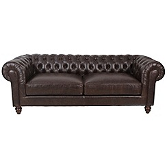 Debenhams - Brown extra-large leather 'Chesterfield' sofa