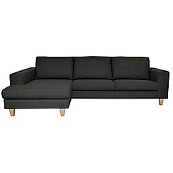 Ben de Lisi Home - Dark grey super-soft 'Cara Shetland' left-hand facing chaise corner sofa