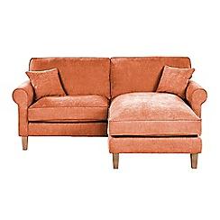 Debenhams - Velour 'Delta' chaise corner sofa