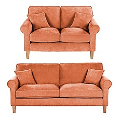 Debenhams - Set of large and medium velour 'Delta' sofas