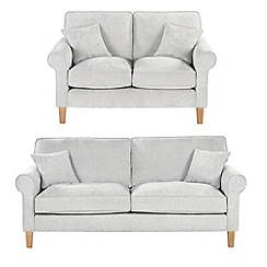 Debenhams - Set of large and medium velour 'Delta' sofas