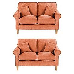 Debenhams - Set of 2 medium velour 'Delta' sofas