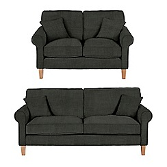 Debenhams - Set of large and medium flat weave fabric 'Delta' sofas