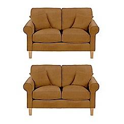 Debenhams - Set of 2 medium leather-look 'Delta' sofas