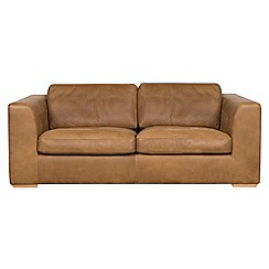 Debenhams - Medium tan leather 'Paris' sofa
