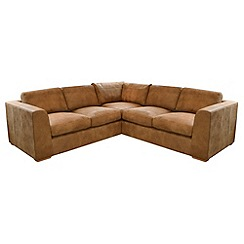 Debenhams - Medium tan leather 'Paris' corner sofa