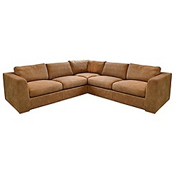 Debenhams - Large tan leather 'Paris' corner sofa