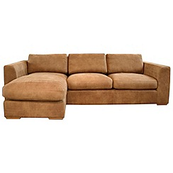 Debenhams - Tan leather 'Paris' left-hand facing chaise corner sofa