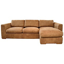 Debenhams - Tan leather 'Paris' right-hand facing chaise corner sofa