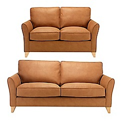 Debenhams - Set of large and medium leather-look 'Fyfield' sofas