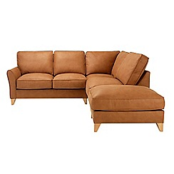 Debenhams - Leather-look 'Fyfield' left-hand facing chaise corner sofa
