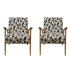 Debenhams - Set of 2 geometric 'Kempton' armchairs