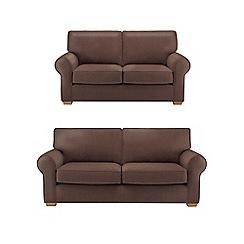 Debenhams - Set of large and medium leather-look 'Charles' sofas