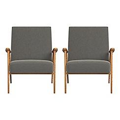 Debenhams - Set of 2 natural grain leather 'Kempton' armchairs