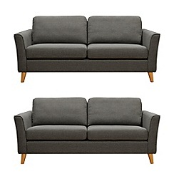 Debenhams - Set of 2 large tweed fabric 'Boston' sofa