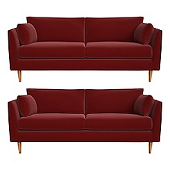 RJR.John Rocha - Set of two 3 seater velvet 'Ravello' sofas