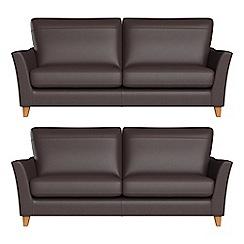 Debenhams - Set of two 3 seater luxury leather 'Abbeville' sofas
