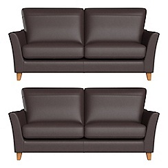 Debenhams - Set of two 2 seater luxury leather 'Abbeville' sofas