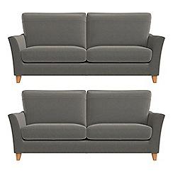Debenhams - Set of two 3 seater natural grain leather 'Abbeville' sofas