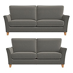 Debenhams - 3 seater and 2 seater natural grain leather 'Abbeville' sofas