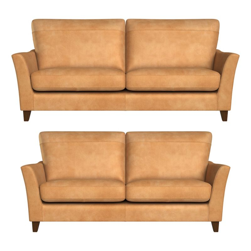 Debenhams 3 seater and 2 seater natural grain leather 'Abbeville' sofas