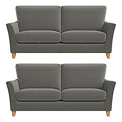 Debenhams - Set of two 2 seater natural grain leather 'Abbeville' sofas