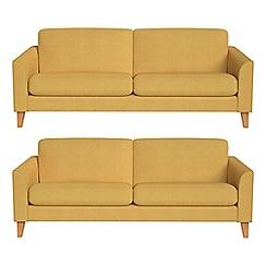Debenhams - Set of two 3 seater tweedy weave 'Carnaby' sofas