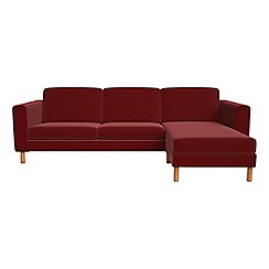 Debenhams - Velvet 'Charlie' right-hand facing chaise corner sofa