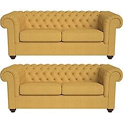 Debenhams - Set of two 3 seater tweedy fabric 'Chesterfield' sofas