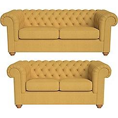 Debenhams - 3 seater and 2 seater tweedy weave 'Chesterfield' sofas