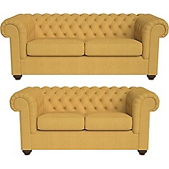 Debenhams - 3 seater and 2 seater tweedy weave 'Chesterfield' sofas