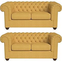 Debenhams - Set of two 2 seater tweedy fabric 'Chesterfield' sofas
