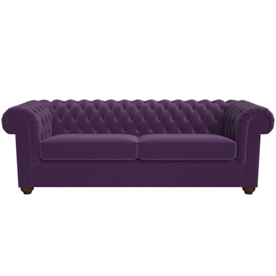 Purple Chesterfield Sofa Aubergine Glitz Velvet 3 Seater