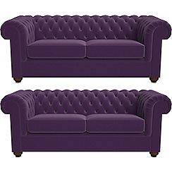 Debenhams - Set of two 3 seater velvet 'Chesterfield' sofas