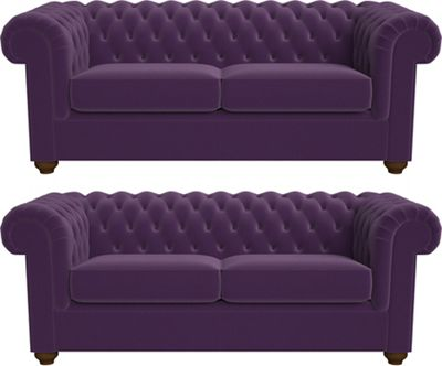 Set Of Two 3 Seater Velvet U0027Chesterfieldu0027 Sofas