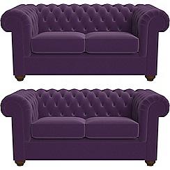 Debenhams - Set of two 2 seater velvet 'Chesterfield' sofas