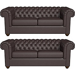 Debenhams - Set of two 3 seater luxury leather 'Chesterfield' sofas