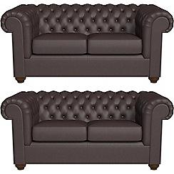 Debenhams - Set of two 2 seater luxury leather 'Chesterfield' sofas