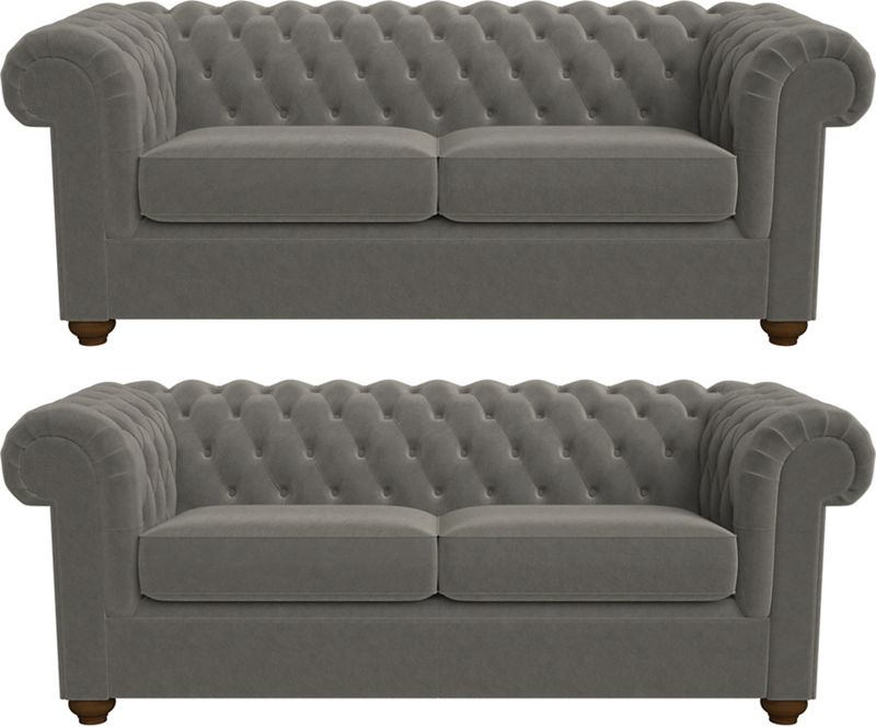 Debenhams Set of two 3 seater natural grain leather 'Chesterfield' sofas